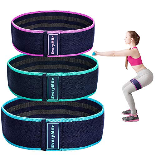 Fabric Resistance Bands Set of 3, Everymile Resistance Exercise Bands for Legs Butt Hip Arms Fitness Physical Therapy Yoga Glute Squat Workout, 3.15