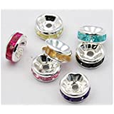 Madcowbeads 50 Rhinestone Crystal Rondelle 8mm Silver Spacer Beads mix jewel tones B009-M