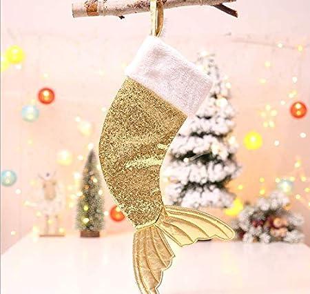 thematys Calza di Natale per riempire e Appendere in Disegni a Sirena Perfetta Decorazione Natalizia Argento