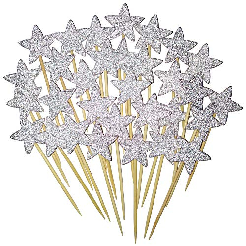 (ForPeak 50pcs Silver Star Cupcake Toppers DIY Glitter Birthday Cupcake Decorations Picks Suppliers Party Supply for Party Wedding Baby Shower)