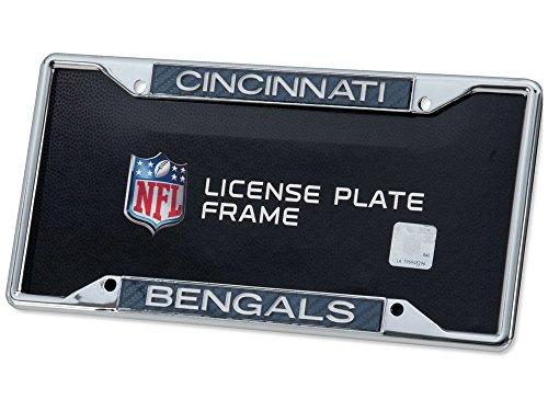 Cincinnati Bengals Carbon Fiber LASER FRAME Chrome Metal License Plate Tag ()