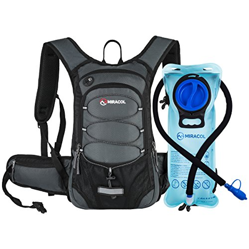 MIRACOL Hydration Backpack with Free Water Bladder, Thermal Insulation Hydration Pack Keeps Liquid Cool up to 4 Hours, Perfect Outdoor Gear for Hiking, Running, Camping and Cycling, Grey
