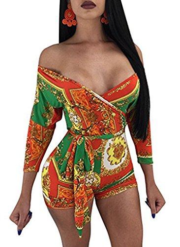 Women's Sexy Off Shoulder Jumpsuit Short Romper 3/4 Sleeve Floral with Belt