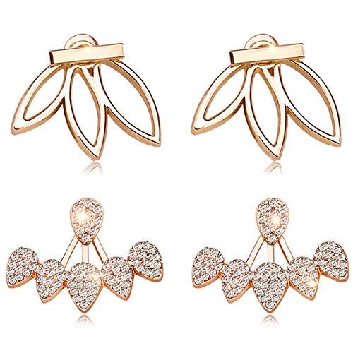 Suyi Fashion Hollow Lotus Flower Earrings Crystal Simple Chic Stud Earrings Set BG