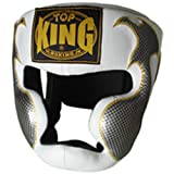 """Top King Muay Thai Boxing Headgear Head Guard Protector """"EMPOWER"""" TKHGEM-01-WH White Size M-L"""