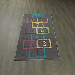 "Ottomanson Children's Garden Collection Grey Background Hopscotch Street Chalk Design 2'7""X6'0"" Children Nursery Kid's Play Runner Rug"