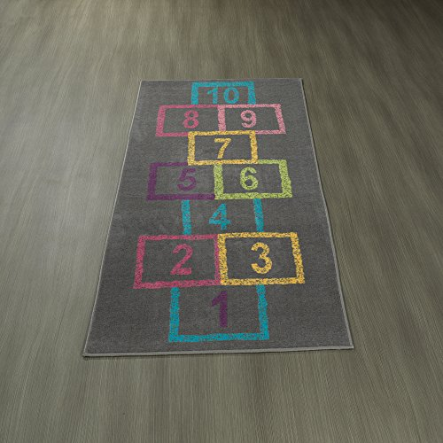 Ottomanson Children's Garden Collection Grey Background Hopscotch Street Chalk Design 2'7 X 6'0 Children Nursery Kid's Play Runner Rug - Balance Play Carpet