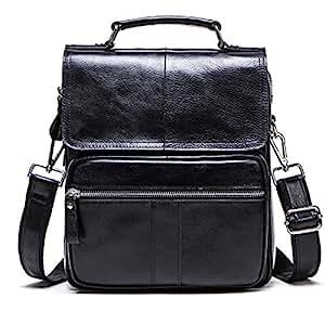 Genuine Handbag,Leather Handbag,Men Messenger Crossbody,Shoulder Travel Handbag,Dark Coffee,Black