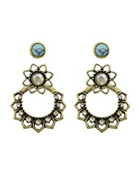 Feelontop® Ethnic Boho Chic Earrings Ear Jacket Antique Gold Tone Crystal Flower Stud with Jewelry Pouch