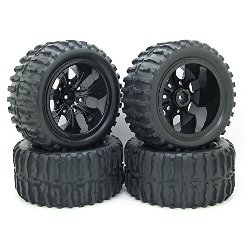 Rc 1/10 Truck Off-road Car Rubber Tires + 7 Spokes Wheel Rim Black Rc Car Parts Pack of -