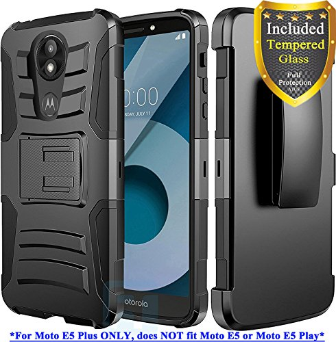 Moto E5 Plus Case, Moto E5 Supra Case, with Full Cover Tempered Glass Screen Protector, ATUS - Rugged Protective Kickstand Case with Holster (Black/Black)