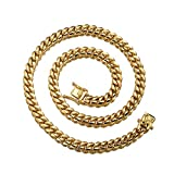W&W Lifetime Mens 24k Gold Plated 22' 10mm Stainless Steel Hip Hop Cuban Curb Link Chain Necklace