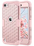ULAK iPod Touch 5 Case, iPod Touch 6 Shockproof Bling Crystal Rhinestone Case Dual Layer Hard PC+Soft Silicone Protective Cover for Apple iPod Touch 5th/6th Generation - Rose Gold
