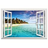iwallsticker 3D Beach Seascape Fake Windows Wall Sticker Removable Faux Windows Wall Decal Landscape Wall Decor For Living room bedroom(Beach Scenery Windows)