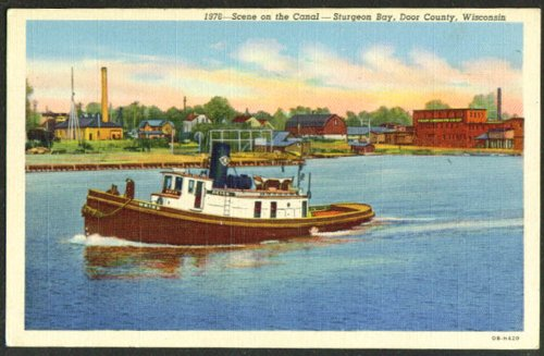 Tugboat Heiss Sturgeon Bay Canal WI postcard 1930s