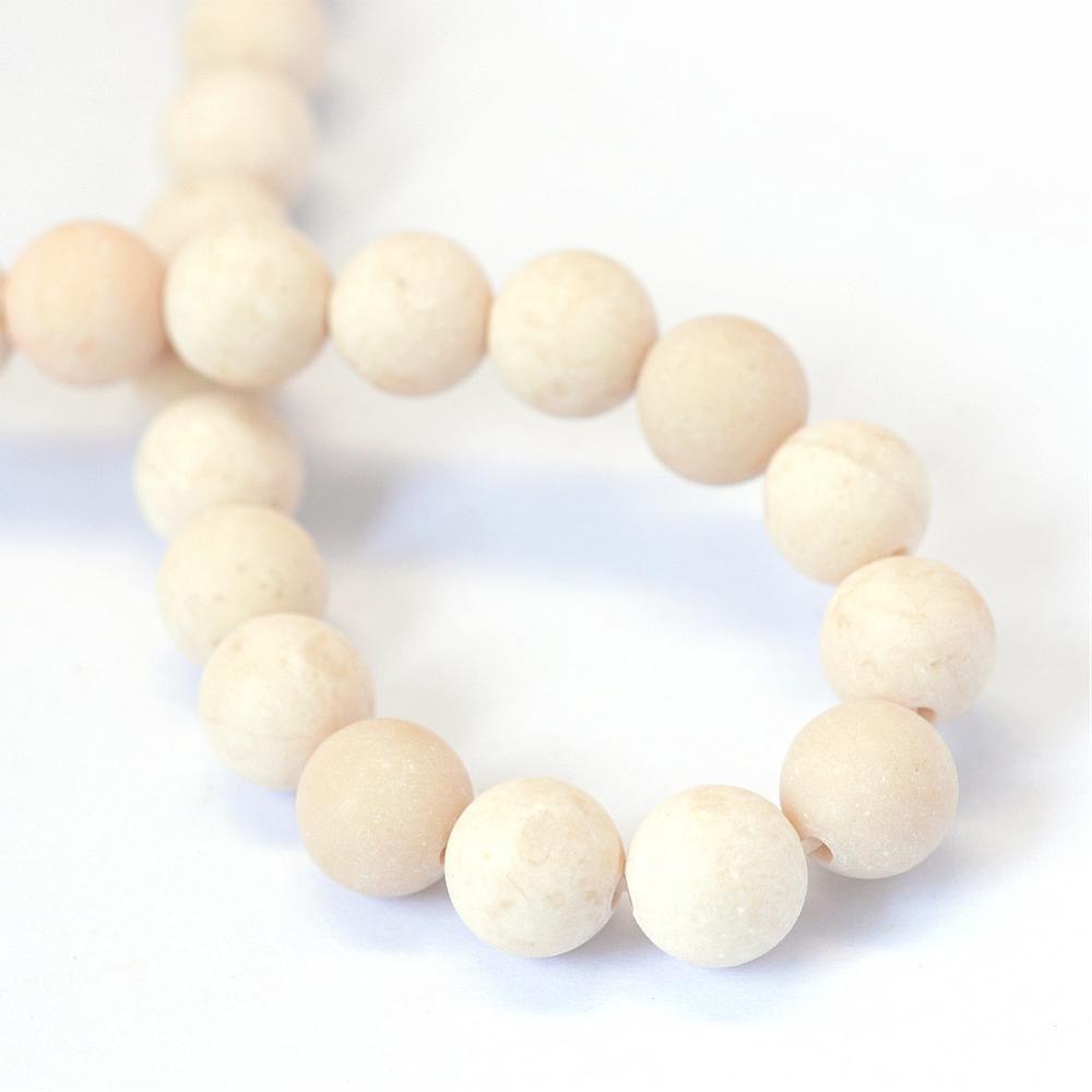 Achat Perlen 8mm Edelsteine Natürliche Indische Frosted Fossil Weiß BEST G762