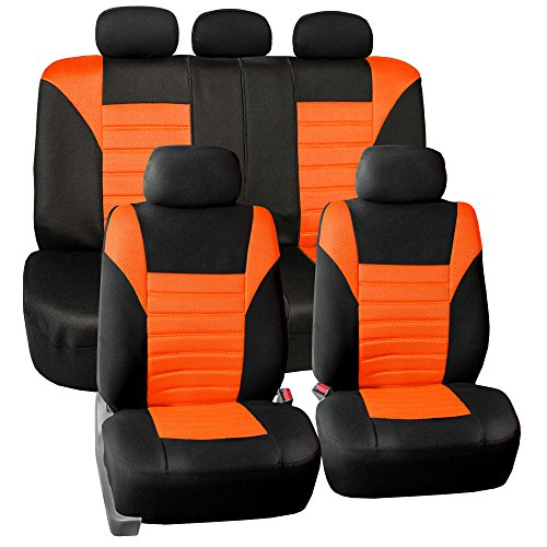 FH GROUP FH-FB068115 Premium 3D Air Mesh Seat Covers Full Set (Airbag & Split Ready), Orange / Color- Fit Most Car, Truck, Suv, or ()
