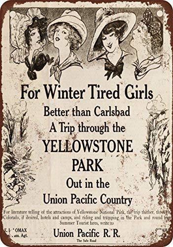 (SRRY 1910 Union Pacific Railroad a Yellowstone Park, diseño clásico de reproducción Metal tin Sign 20 x 30 cm)