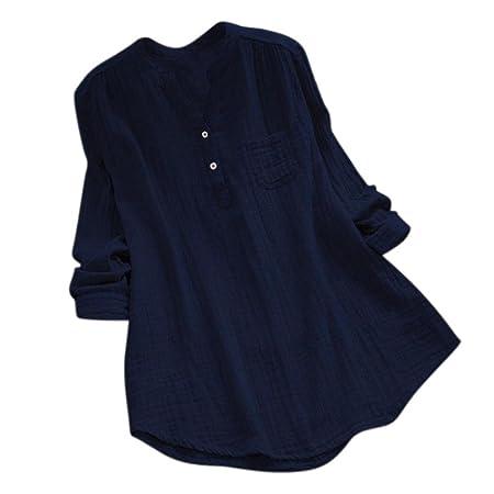 ❤️Camisas Mujer Sexy de Talla Grande,Modaworld Las Mujeres de Manga Larga Casual Loose Tunic Tops Camiseta Blusa Suelta para Mujer Blusas Elegante ...