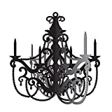 Party Central Club Pack of 12 Black and Gray Antique Style Chandelier Cutout Decorations 17''
