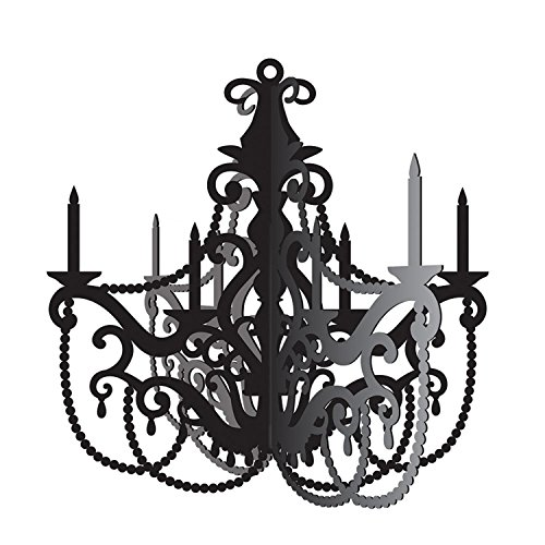 - Party Central Club Pack of 12 Black and Gray Antique Style Chandelier Cutout Decorations 17