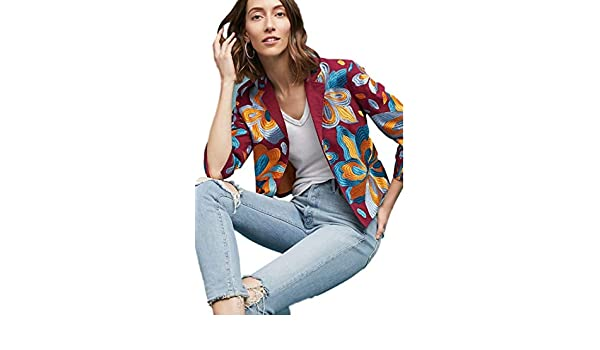 39f3fc4f3b2ee Anthropologie Woodstock Boho Floral Embroidered Crop Cotton Jacket Blazer  at Amazon Women's Clothing store: