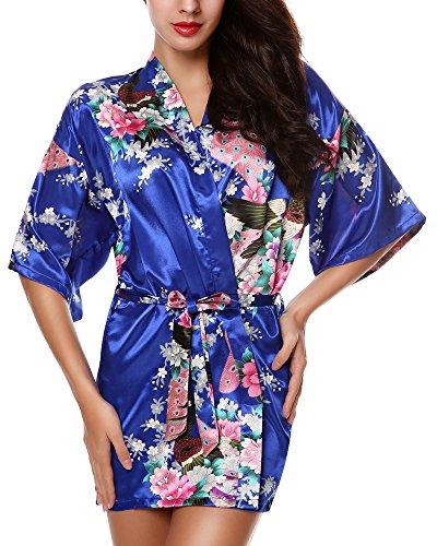 Pyjama Blue voor vrouw korte Avidlove Lingerie bloemenprint Celeste satijn Kimono dHxwq8dY40