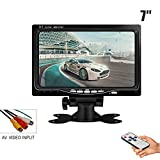 HJJH 7 Inch LCD Display Car Rearview Monitor, Video Input, HD 800X480 Pixel, The Butterfly Bracket And A Pillow Frame Bracket With Remote Control