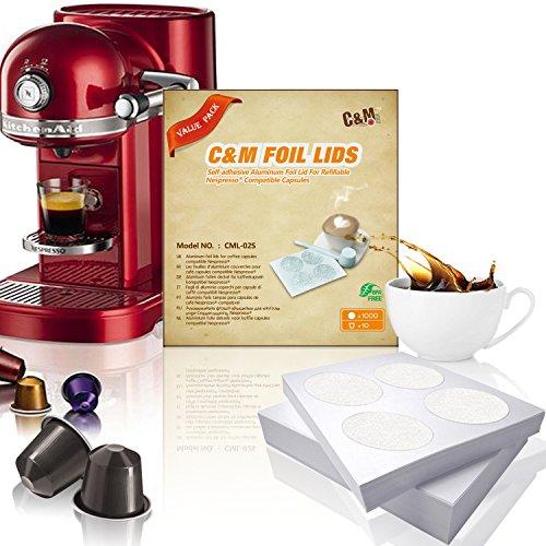 IreVoor 1000 pcs DIY Aluminum Espresso Lids Compatible with Nespresso 10 pcs Empty Capsule