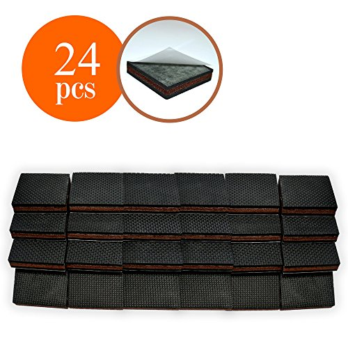 "Floor Protector Pads (NON SLIP Furniture Pads 24 PCS SQUARE! Premium 2"" Furniture Feet with Rubber & Felt - Best Hardwood Floor Protectors for Keep All Furniture. High Effective Rubber Furniture Pads for 100% Satisfaction)"