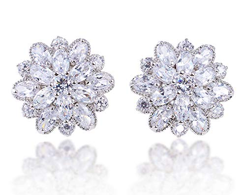 (LILY TREACY CZ Stud Earrings 5ct Cubic Zirconia white simulated diamond SNOW FLOWER w/LED light)