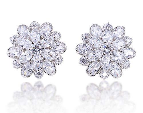 Cubic Zirconia Cluster Earrings - LILY TREACY CZ Stud Earrings 5ct Cubic Zirconia white simulated diamond SNOW FLOWER w/LED light box