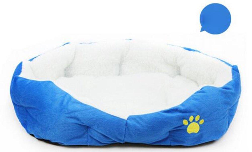 WeiMay Pet lit Panier Coussin de couchage pour chien chat en laine d'agneau doux chaud confortable Maison Kennel (bleu)