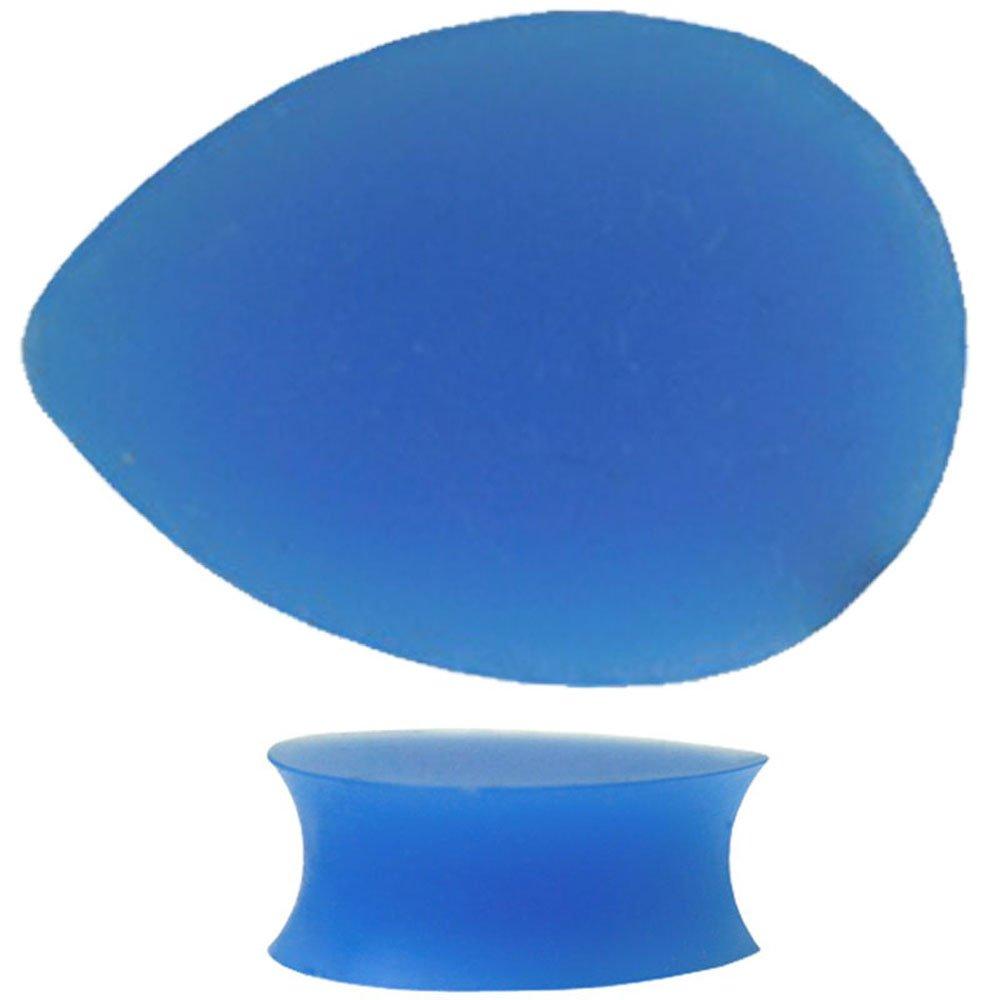 Piercing Deals Light Blue Color Teardrop Silicone Ear Plug Gauges Sold As Pair GS4LB 3ps
