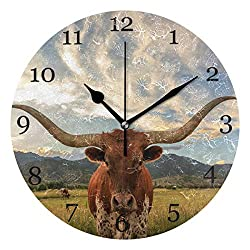 KUWT Prairie Animal Cow Wall Clock Silent Non-Ticking 9.5 Inch Round Clock Acrylic Art Painting Home Office School Decor
