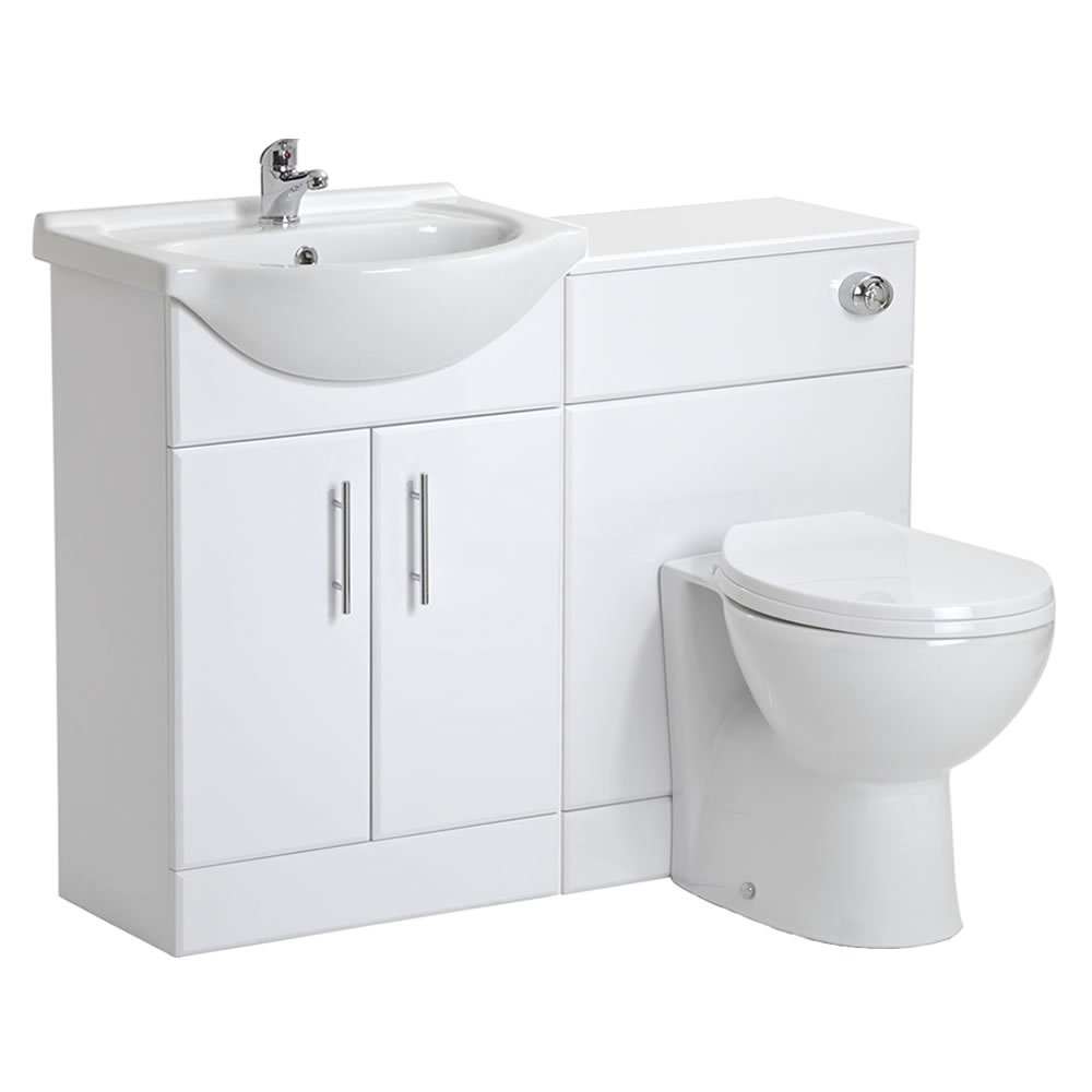 550mm White Gloss Bathroom Vanity Unit Furniture One Tap Hole Sink Basin  and Back to Wall Toilet WC Set. Amazon co uk  Bathroom Suites