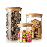 Glass Storage Jars YUMU Clear Glass Cylinder Jars Food Storage Container Canisters with Bamboo Lids Set of 3 LQ1012