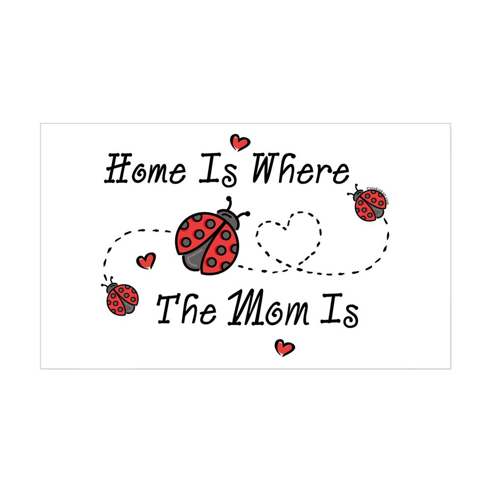 Amazon com cafepress ladybug home is mom rectangle sticker rectangle bumper sticker car decal home kitchen
