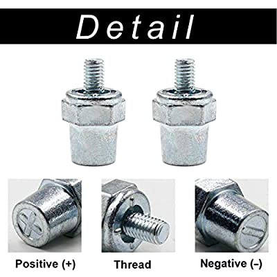 Cyful One Pair Zinc Alloy Battery Side Terminal Charging Posts Fit 8mm Positive (+) or Negative (-) Battery Cable terminals: Car Electronics