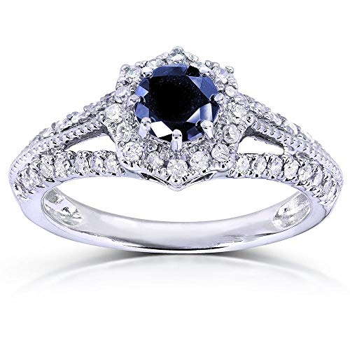 Vintage Sapphire & Diamond Engagement Ring 1 Carat (ctw) in 14k White Gold, Size 8.5