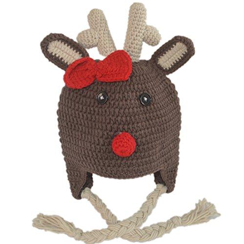 Generic Handmade Crochet Baby Raindeer Hat with Earflaps Small(fits (Raindeer Hats)