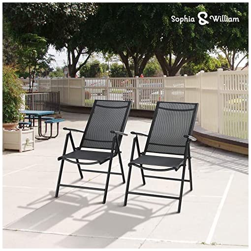 Garden and Outdoor Sophia & William 7 Pieces Patio Dining Set with 6 Foldable Sling Chairs and 1 Rectangle Metal Table with Umbrella Hole… patio dining sets