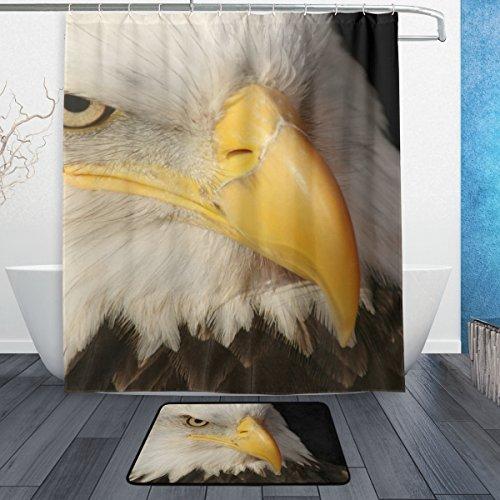 Hot Sale La Random American Bald Eagle Shower Curtain Curtains Set With Bath Rugs 60x72 Inch