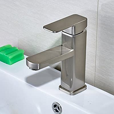 Rozin Deck Mount Single Hole Bathroom Sink Mixer Faucet Brushed Nickel ...