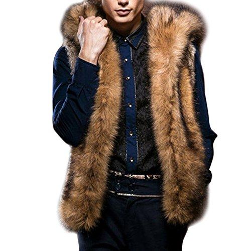 Fur Leather Coat - FUNOC Men's Warm Fur Hoodie Waistcoat Sleeveless Vest Hooded Outwear Jacket Coat