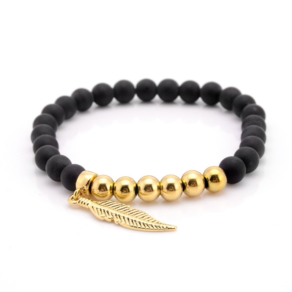 Ourania Stainless Steel Feather Charm Matte 6MM Onyx Stone Beaded Bracelet