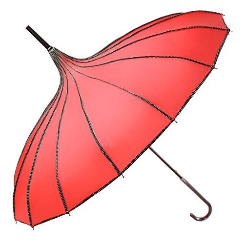 (Kung Fu Smith Women Vintage Polka Dots Travel Stick Rain Pagoda Parasol Umbrella,)