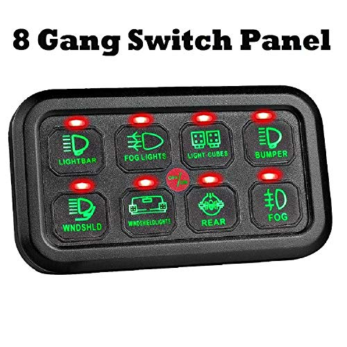 STVMotorsports 8 Gang LED Switch Panel Box Universal Control System with Harness and Label Stickers for Car Truck Jeep UTV RV Boat -