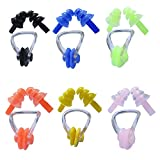 6 Sets Waterproof Silica Gel Swimming Earplugs and Nose Clip Colorful