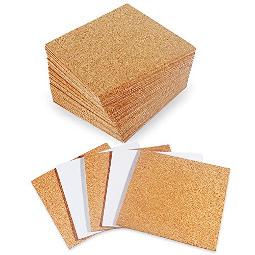 30 Pack SelfAdhesive Cork Squares 4quot x 4quot Cork Tiles Cok Bcking Sheets Cork Coasters Square for DIY Crafts